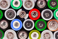 Many colorful batteries Stock Photography