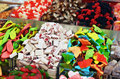 Many colorful candies on market stand Royalty Free Stock Images