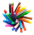 Many colorful felt tip pens isolated white Stock Photos