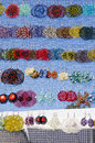 Many colorful handmade earrings sale market fair Royalty Free Stock Image