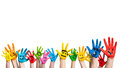 Many colorful hands with smileys Royalty Free Stock Photo