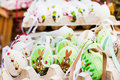 Many colorful painted easter eggs at traditional the european market Royalty Free Stock Photos