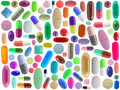 Many colorful pills isolated on white Stock Image