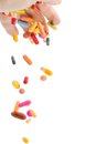 Many colorful pills on a white background symbolic photo for medicine and drugs Stock Photos