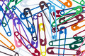 Many colorful safety pin Stock Images
