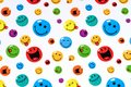 Many colorful smiling smileys as background