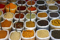 Many colorful spice in  bags Stock Photos