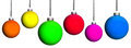 Many coloured christmas tree balls six isolated before white background Stock Photos