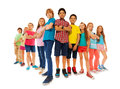 Many confident boys and girls stand together Royalty Free Stock Photo