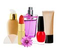 Many cosmetics and pink flower Royalty Free Stock Photo