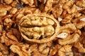Many cracked walnuts Royalty Free Stock Photo