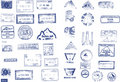 Many custom, border and mountaineers peaks stamps Stock Image
