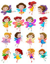 Many cute fairies with colorful wings Royalty Free Stock Photo