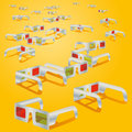 Many d glasses and yellow background Stock Image