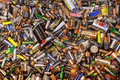 Many dead batteries gathered for recycling Stock Photo