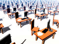 Many Desks With Chairs 1 Royalty Free Stock Images