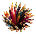 Many different colored pencils with white background Royalty Free Stock Image