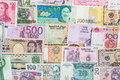 Many different currency banknotes from world country Royalty Free Stock Photo