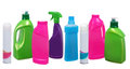 Many different plastic bottles of cleaning products on white Stock Images