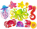 Many different sea animals. Vector Royalty Free Stock Photos