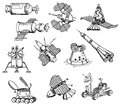 Many different spacecrafts on white Royalty Free Stock Photography