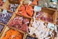 Many different traditional italian colorful spices at market in Royalty Free Stock Photo
