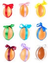 Many Easter egg, decorated a varicoloured ribbon Stock Photos