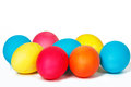 Many easter eggs on a white background Royalty Free Stock Images
