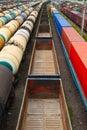 Many empty wagons Royalty Free Stock Photo