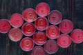 Many extinguished red candles Royalty Free Stock Photo