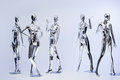 many fashion shiny female mannequins for clothes. Metallic manne