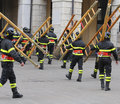 Many firefighters during exercise in the town square