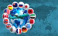 many flags around the globe and a plane Royalty Free Stock Photo