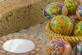 Many fresh easter rural decorated eggs Stock Photos