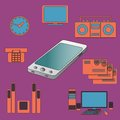 Many functions carries a modern mobile phone vector illustration Royalty Free Stock Photos