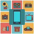 Many functions carries a modern mobile phone vector illustration Stock Image