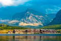 Many Glacier Hotel Royalty Free Stock Photo