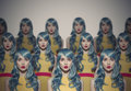 Many Glamour Beauty Woman Clones. Identical Crowd Concept. Royalty Free Stock Photo