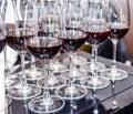 Many glasses of wine Royalty Free Stock Photo