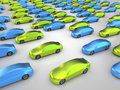 Many green and blue cars