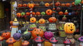 Many handcrafted fluorescent pumpkins made of clay Royalty Free Stock Photo