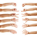 Many hands counting with fingers their from zero to five Royalty Free Stock Images