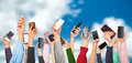 Many hands holding mobile phones against Royalty Free Stock Photo
