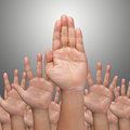 Many Hands raise high up Royalty Free Stock Image