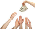 Many hands reaching out for money Royalty Free Stock Photo