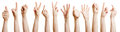 Many hands showing different gestures with the fingers Royalty Free Stock Image