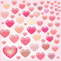 Many happy pink hearts Stock Photography