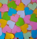 stock image of  Many hearts of different colors as texture and background