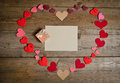 Many hearts handmade in shape of heart on the wooden board Royalty Free Stock Photo