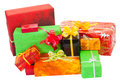 Many isolated christmas present on white Stock Photo